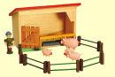 Schweinestall mit Schweinehirte und Schweinefamilie