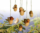 Vogel hängend 6 Stück natur