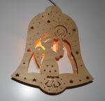 Fensterbild Glocke mit Kerze beleuchtet